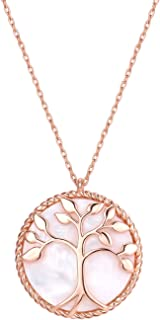 Natural Shell Tree of Life Round Pendant Necklace Fashion Jewelry for Women Girls