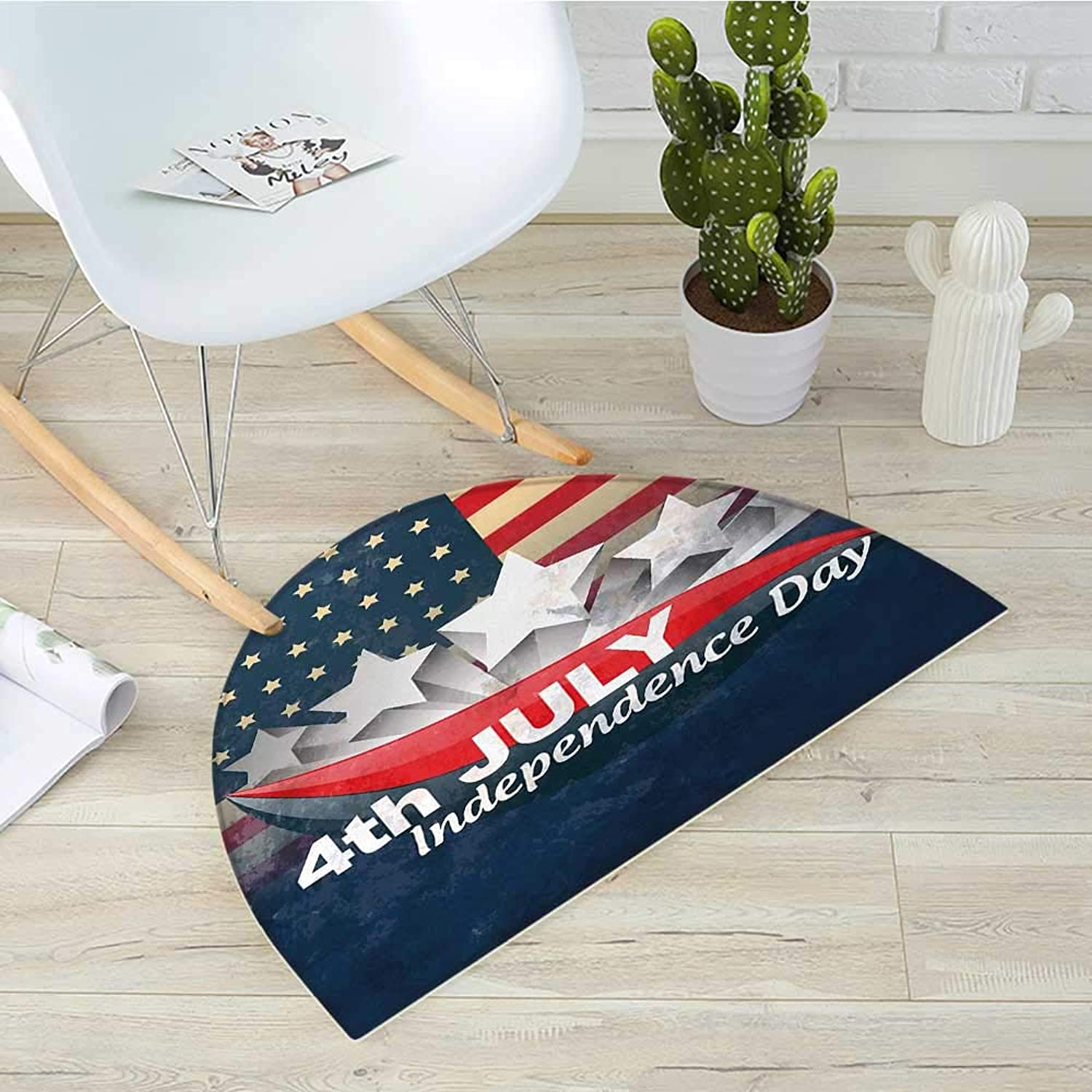 4th of July Half Round Door mats American Flag Backdrop with Stars and Swirled Abstract Stripes Patriotic Design Bathroom Mat H 43.3  xD 64.9  Multicolor