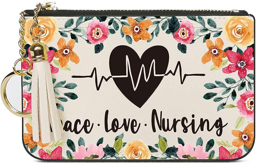 Nurse Gifts for Women, Peace Love Nursing, Women Leather Wallet Card Case Coin Purse Pouch with Tassel Key Chain, Nurse Week Gifts for Nursing Graduation Student Grad Nurse Practitioner