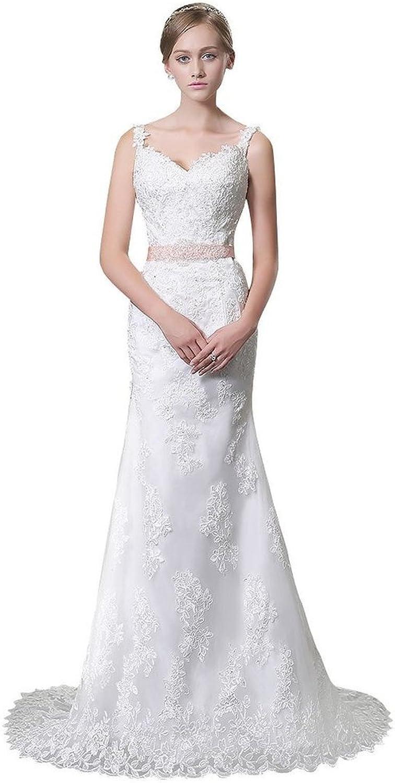 BessWedding Mermaid Wedding Dresses Lace Bridal Dress Beaded Sash with Straps