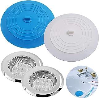 SENHAI Lot de 2 bouchons de baignoire en silicone et 2 passoires d'évier de cuisine en acier inoxydable avec ventouse plat...