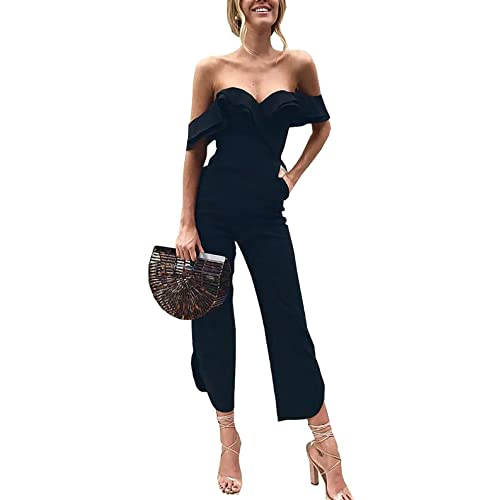 61d38768fc4f PRETTYGARDEN Women s Backless Off Shoulder Tiered Ruffle High Waist Jumpsuit  Romper Split Casual Overall