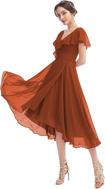 V Neck Chiffon A-Line Ruffles Short Bridesmaid Dress Tea Length Formal Party Gown