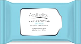 Aesthetica Makeup Removing Wipes - Facial Cleansing Towelettes - Hypoallergenic & Dermatologist Tested Make up Remover - Oil & Fragrance Free - Made in USA - 30 Ct