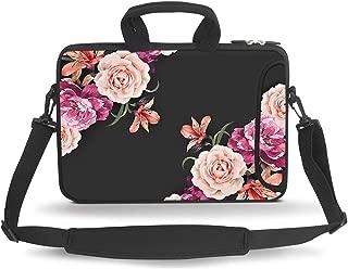 HAOCOO 17 17.3 inch Laptop Shoulder Bag Water-Resistant Neoprene Computer Case Sleeve with Handle Adjustable Shoulder Strap, Big Peony