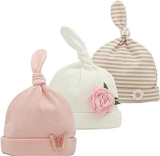Newborn Beanie Baby Hats 0-6 Months 6-12 Months Girl Bow Caps Hospital Beanie Set