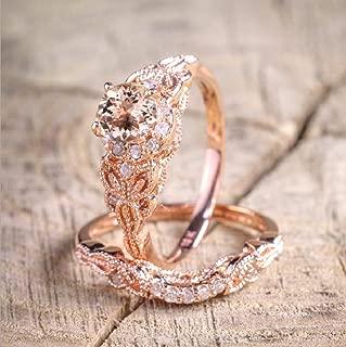 Finemall Fashion Elegant Women 18K Rose Gold Filled Morganite AAA Zircon Pink Gemstone Wedding Bridal Ring Set(Size 6-10) (Size 8)