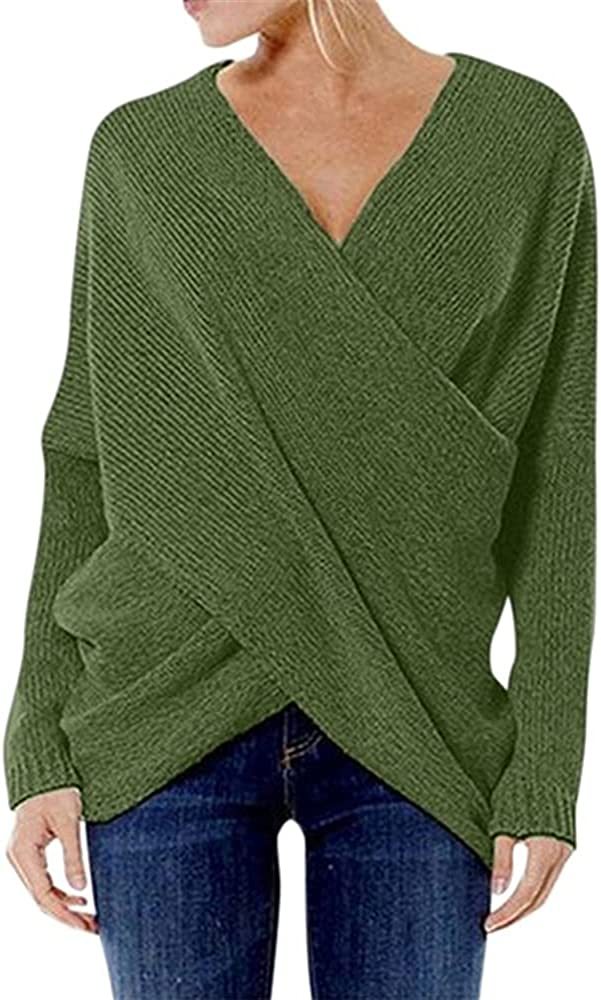 NP Women Autumn Knitted Sweater Casual Neck Loose Irregular Hem Sweater