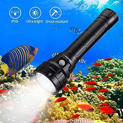 Wurkkos Lampe de plongée,Torche de Plongée 5000 Lumens Rechargeable, étanche IPX8, Lampe de plongée Professionnelle 4 * Samsung LH351D LED avec 2 * Batteries 26650 et Chargeur