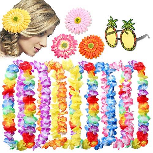 Pack de 13 Collares de Flores Hawaianos,Leis Luau Leis Florales con Volantes Hawaianos para Vestir, Tema de Playa Decoraciones para Fiestas