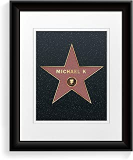 A&T ARTWORK Hollywood Walk of Fame Star - Personalized Picture Prints The for Birthday Name and sgin Option.14x11 inches& D-Mats UNFRAMED