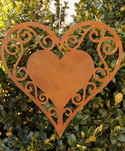 Edelrost Herz filigran zum Aufhängen Fensterschmuck Gartendekoration Metall Rost