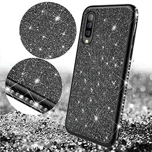 Uposao Coque pour Samsung Galaxy A50,Coque Glitter Strass Brillante Paillette en Métal Silicone TPU Souple Housse Etui Antichoc de Protection Résistant Solide Coque pour Galaxy A50,Noir