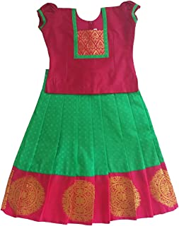 Pattu Pavadai Baby Girls Pavada Sattai (Parrot Green and Pink)