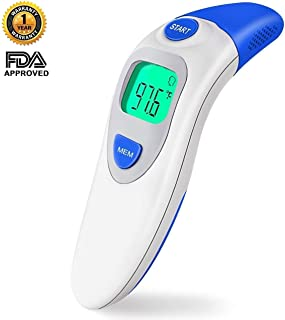 Baby Thermometer, Forehead Thermometer, Ear Thermometer, Digital Thermometer for Fever, Infrared Technology, Wireless, Clinical Accuracy and Quick Reading for Baby/Infant, Kids and Adult, FDA approved