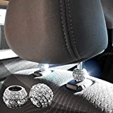 Bling Car Decor Crystal Bling Car Seat Headrest Decoration Charms, Rhinestone Bling Car Accessories for Women, Diamond Interior Car Seat Accessory, Headrest Collar Charms, Car Glam (Round 2 pc)