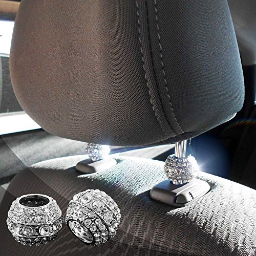 Crystal Bling Car Seat Headrest Decoration Charms, Bling Car Accessories for Women, Car Bling for Seats, Rhinestone Interior Car Seat Accessory, Headrest Collar Charms, Glam Car Decor (Round 4 pc)
