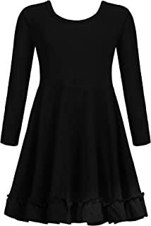 Zaclotre Girls Cotton Long Sleeve A line Twirly Skater Casual Party Dress 3-12 Years