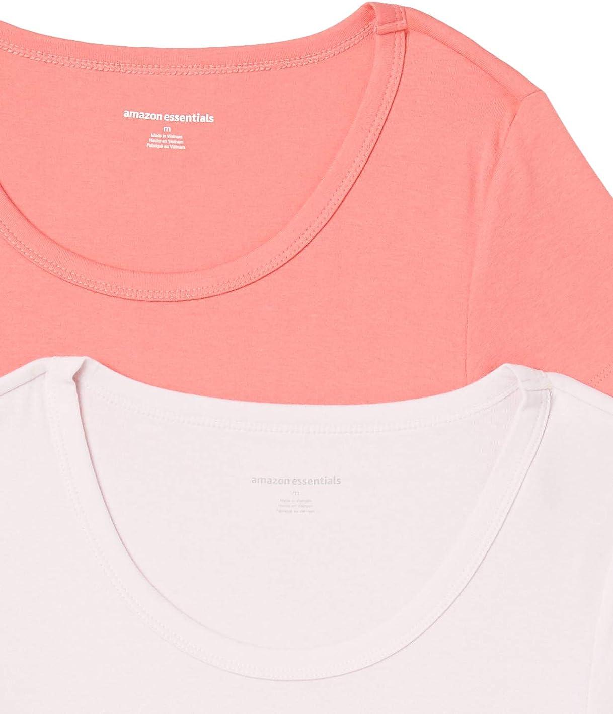 Essentials Womens 2-Pack Slim-Fit Cap-Sleeve Scoopneck T-Shirt