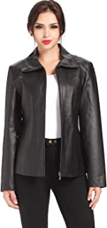 BGSD Women's Tina Lambskin Leather Scuba Jacket (Regular and Plus Size and Short)