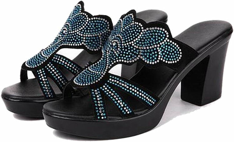 Womens Sandals Summer High Heel Rhinestone Slippers Plus Size Open Toe shoes