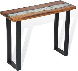 Festnight Industrial Entryway Console Table Teak 39.4