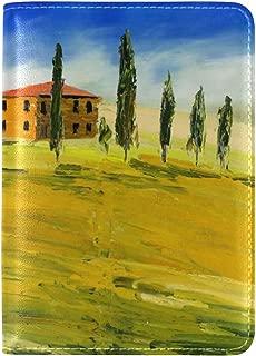 Jojogood Art Painting Tuscany Italy Houses Trees Genuine Leather UAS Passport Holder Cover Travel Case