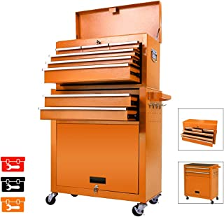 Big Tool Storage Cabinet,Tool Chest with 4 Wheels,8-Drawer Rolling Tool Chest,Removable Portable Top Box with Lock Tool Chest for Garage and Warehouse-Orange