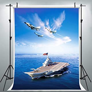 Aircraft Carrier Backdrop for Photography, 6x9FT, Military Theme Background, US Navy Party Banner, Photo Booth Props HXLU223