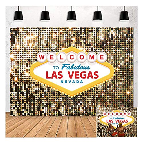 Welcome to Las Vegas Photo Background Fabulous Casino Poker Movie Themed Photography Backdrops 5x3ft Vintage Costume Dress-up Birthday Prom Ceremony Baby Shower Banner Supplies Props Vinyl