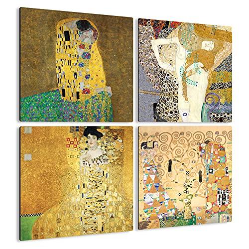 Giallobus - 4 Cuadrados de Paneles múltiples - Gustav Klimt - Las Obras más Bellas de Klimt - Colección 1 - Madera de MDF - 29,7X29,7-4 Piezas.