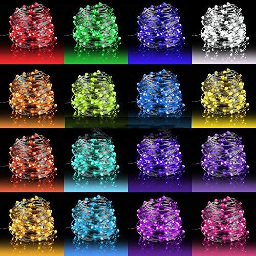 10M 100er Bunt Lichterkette Batterie & USB, 132 Modi 16 Farben LED Lichterkette Außen, Halloween Lichterkette Innen mit Fernbedienung, Kupferdraht Lichterkette Dimmbar für Zimmer Weihnachten Garten