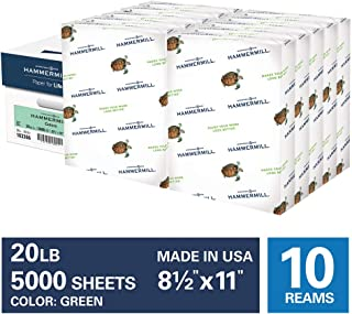 Hammermill Green Colored 20lb Copy Paper, 8.5x11, 10 Ream Case, 5,000 Total Sheets, Made in USA, Sustainably Sourced From American Family Tree Farms, Acid Free, Pastel Printer Paper, 103366C