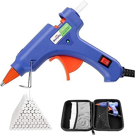 Dweyka Pistolet à Colle Chaude 75pcs Bâtons Chauffrage Rapide et Sûr Pistolet à Colle 20W, y compris un sac à outils, Anti écoulement pour Réparation, Artisanat, DIY, Maison, Bricolage, Bureau- Bleu