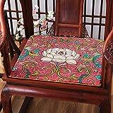 Mkuha 4er Set Stuhlkissen Sitzkissen mit Reißverschluss, Leinen Sitzauflage Perfekt für Holzstühle, Gefüllte Schwamm, rutschfest, Chinesischer Klassischer Stil, Eckig Rechteck, Dick,B,40x40x2cm
