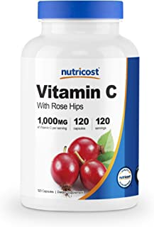 Nutricost Vitamin C with Rose Hips 1025mg, 120 Capsules - Vitamin C 1,000mg, Rose Hips 25mg, Premium, Non-GMO, Gluten Free...