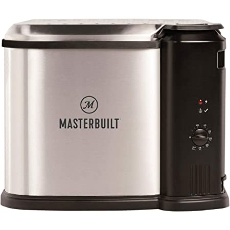 Masterbuilt MB20010118 Electric 3-in-1 Deep Fryer Boiler Steamer Cooker with Basket, Adjustable Temperature, and Built-In Drain Valve for Versatile Kitchen Fry Cooking, Silver
