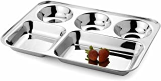 SKARS 5 in1 Stainless Steel Kitchen and Dining Diwali Round Extra Deep Compartment Divided Plate/Thali/Mess Tray Set, 33.5...