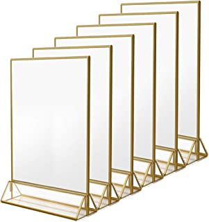 NIUBEE 6Pack 8.5 x 11 Acrylic Sign Holder with Gold Frames and Vertical Stand, Ideal for Display Wedding Table Numbers, Double Sided Picture, Clear Photos, Menu Holders