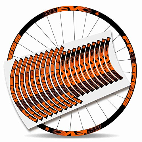 Kit Pegatinas Bicicleta Stickers LLANTA Rim Progress EVO 29' MTB BTT B (Naranja)
