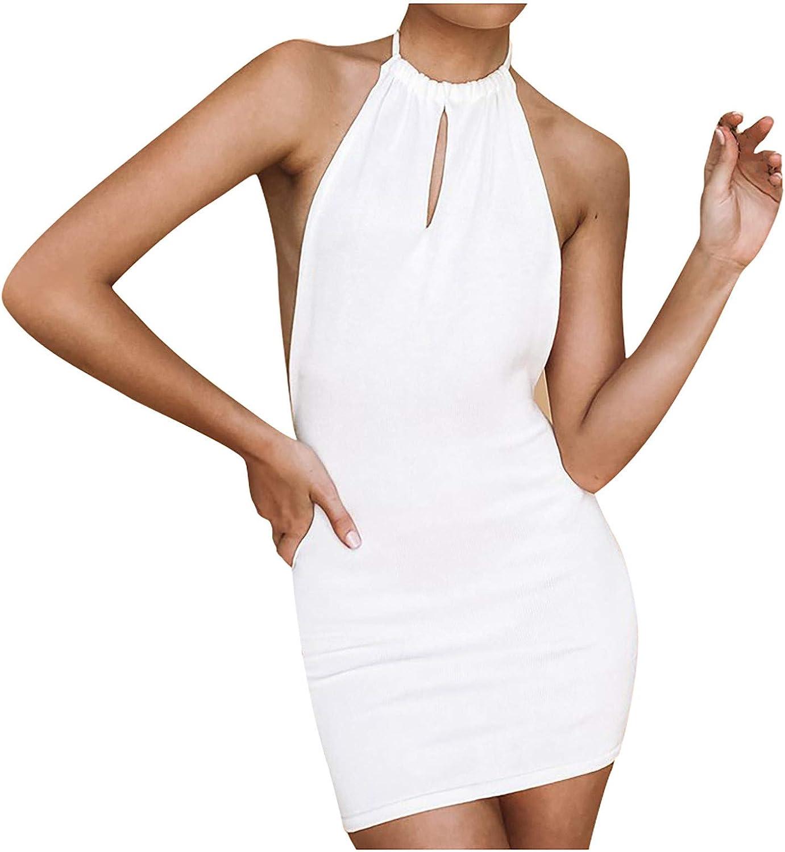 acction Women's Sleeveless Halter Dress Summer Sexy Backless Knit Mini Dresses Solid Color Short Tank Dress