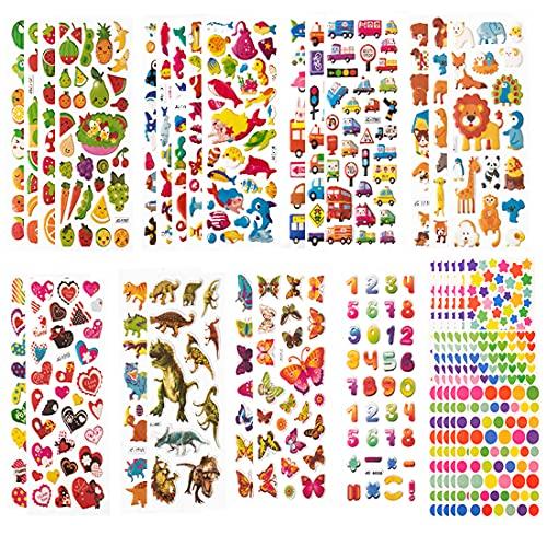 40 Feuilles Gommettes Animaux Fruits Autocollants 3D Enfant 2 Ans Scrapbooking Environs 720pcs