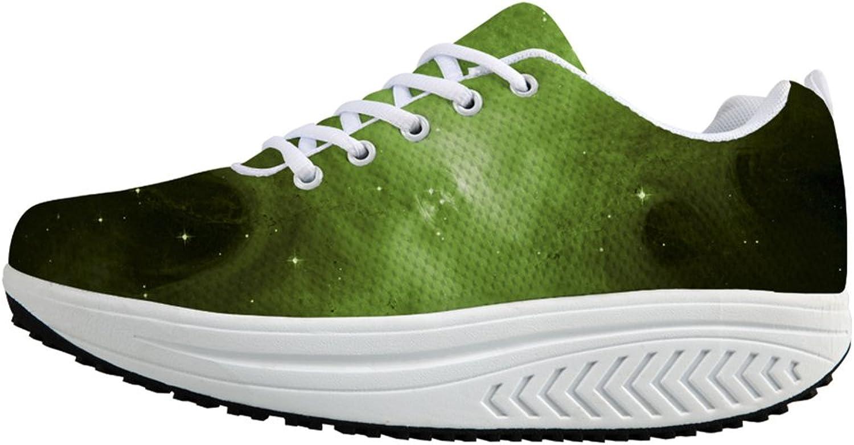 Galaxy Print Women Strength Fitness Walking Wedges Sneaker Platform shoes US5