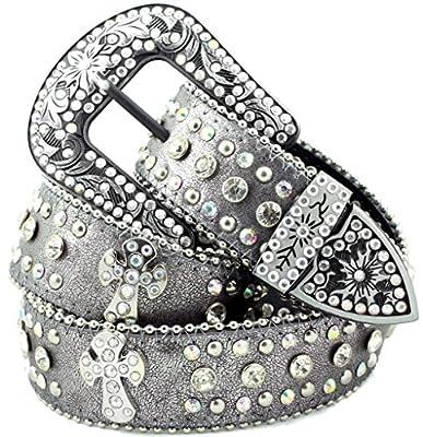 Deal Fashionista GREY Western Rhinestone Cowgirl CROSS Bling Studded Removable Buckle Belt