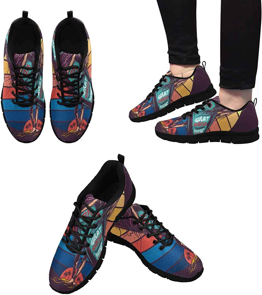 InterestPrint Girl Going to The Sea Women's Athletic Walking Running Sneakers Comfortable Lightweight Shoes