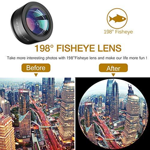Phone Camera Lens,Upgraded 3 in 1 Phone Lens kit-198° Fisheye Lens + Macro Lens +...
