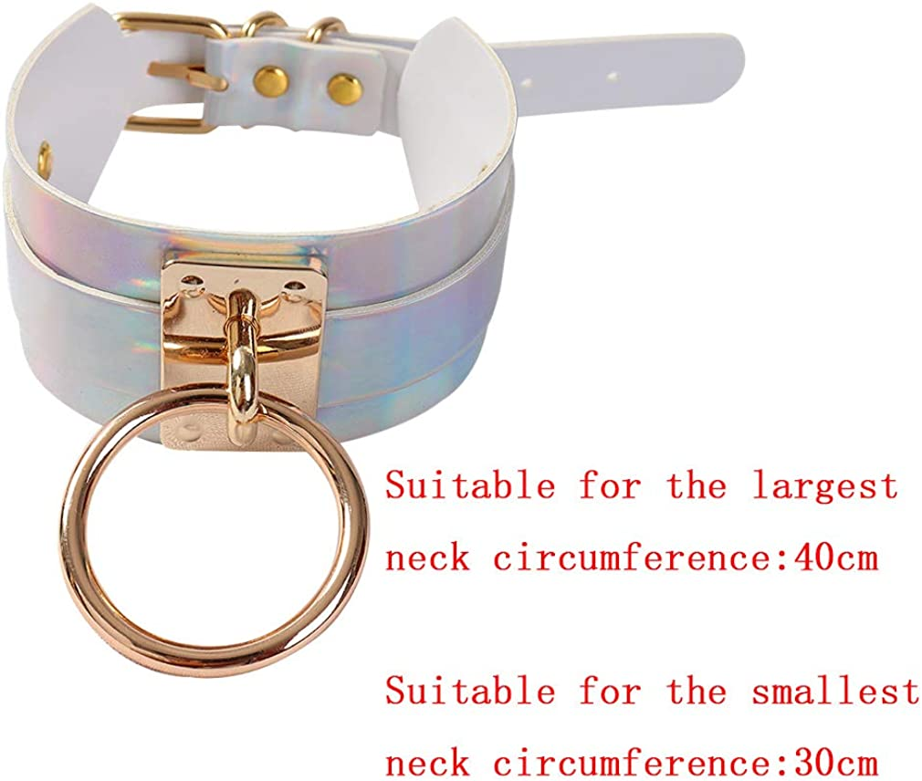 Women Punk Leather Choker Premium Black Vegan Collar Necklace - Adjustable Neck Harness Charms Body Gift