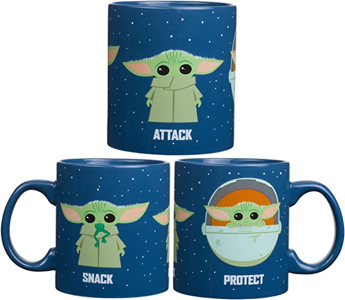 Silver Buffalo Caneca de café de cerâmica Star Wars The Mandalorian Protect Attack Snack para cappuccino, latte ou chá quente, 590 ml, azul