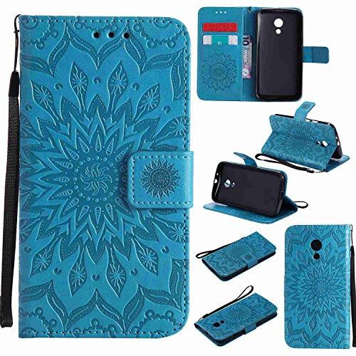 Guran® PU Leder Tasche Etui für Motorola Moto G 2. Generation (5 Zoll) Smartphone Flip Cover Stand Hülle & Karte Slot Hülle-blau