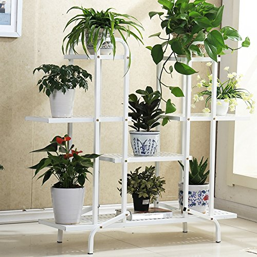 QFF Ensemble de fleurs en fer, étagère à fleurs à étages, à plusieurs étages, salon, balcon, étagère à fleurs ( Couleur : Blanc , style : B )